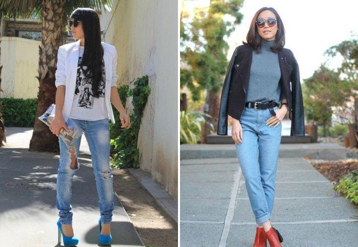 Світло-блакитні джинси із заниженою талією слід комбінувати з шовкової  блузкою d65da14bc52c8
