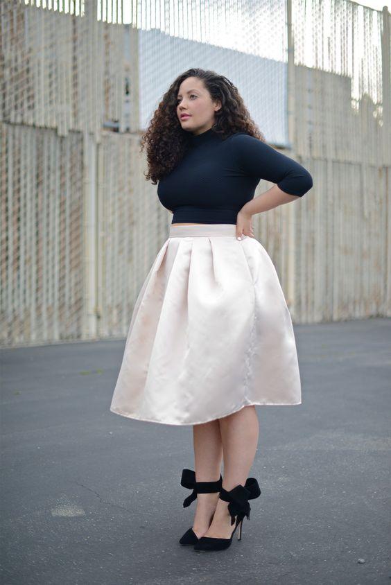 Новий модний і жіночний стиль одягу для повних передбачає присутність в  гардеробі дівчат розміру plus size кілька варіантів пишних спідниць різної  довжини з ... 5f339175fd834