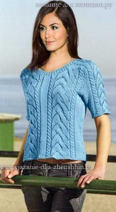 e6986a59d569 Popis pletenia ženského pulóvra s opletkami. veľkosť pletený sveter pre  ženy  42