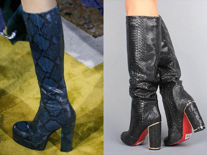 Взимку 2016-2017 років епатажні дівчата зможуть носити чоботи з вінілу і  гнучкого пластику. Внутрішня частина взуття утеплена 0bbb96549cd9d