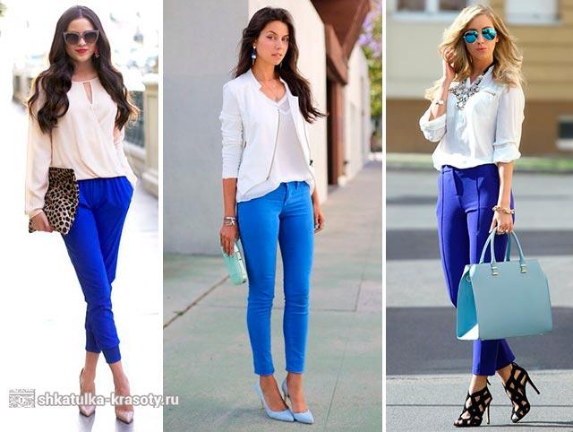 Темно-сині жіночі штани також прекрасно поєднуються з білим верхом. В  даному випадку наряд вийде більш трохи більш суворим 172c7ff268e93