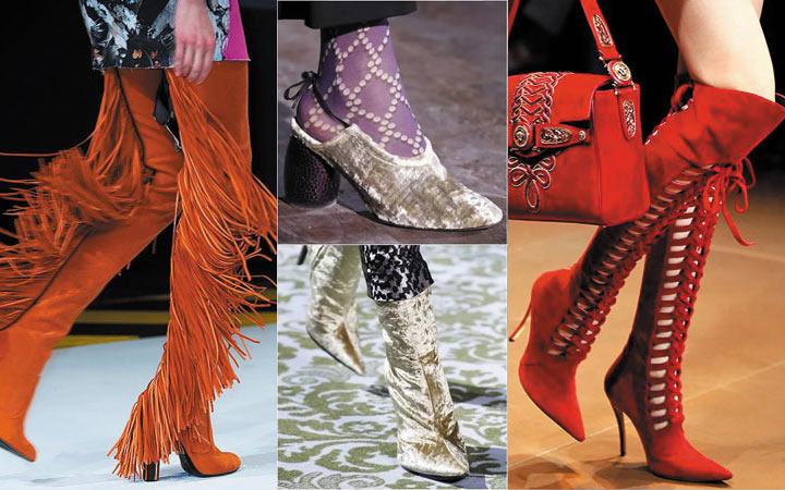 9effb2e7d اتجاهات الشتاء أحذية. أحذية مع تأثير فضي معدني. أحذية على الكعب منحوت.
