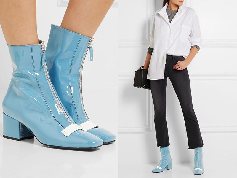 e7970b1fb88a36 Яскраві сині жіночі ботильйони прекрасно впишуться в найрізноманітніші  ансамблі вільного стилю. Це взуття добре поєднується і родинними квітами  (що ...
