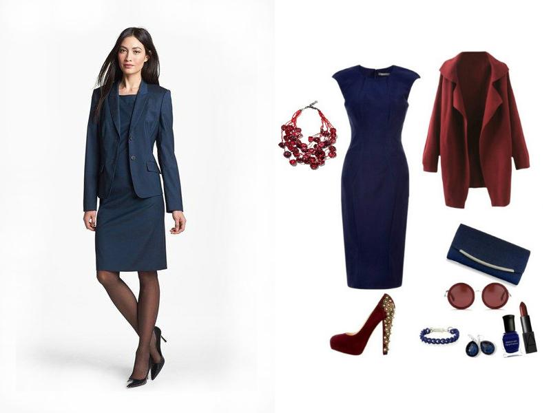 Темно-синє плаття футляр з рукавами три чверті можна надіти з приталені  жакети бордового кольору. Доповнимо ансамбль бордовими ботильйони на  тонкому каблуці ... bc074d88d659b