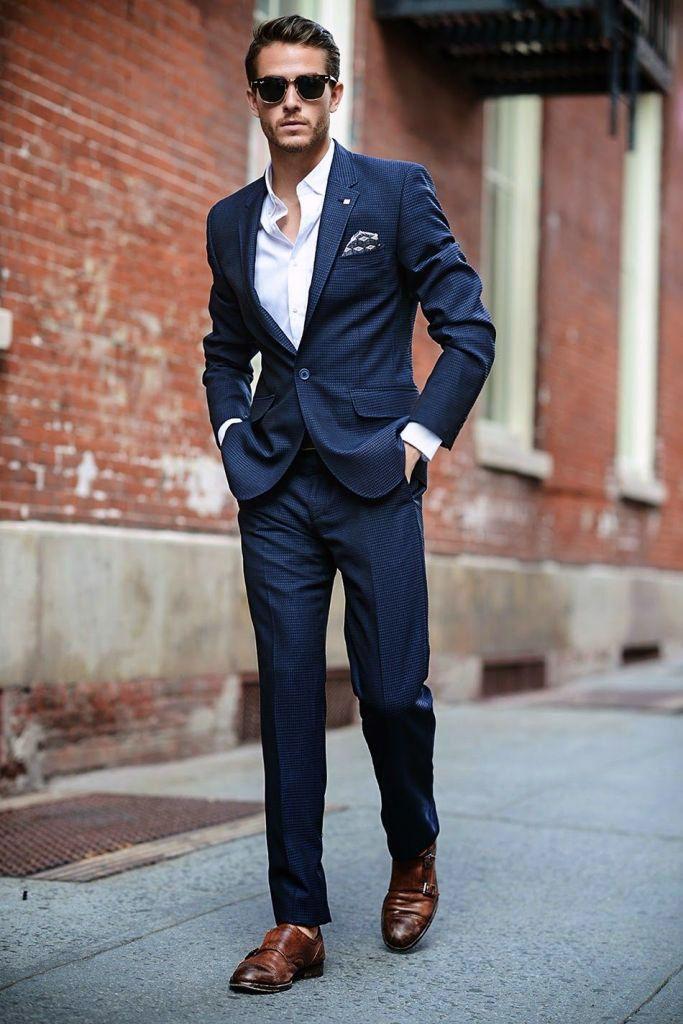 Блакитний костюм і кремові туфлі. Як правильно носити коричневі туфлі 2339203694ad0