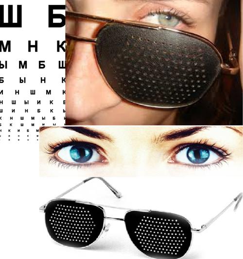 Okuliare s otvormi môžu mať otvory rôznych tvarov - kužeľovité alebo  valcové. ef6e92852a6