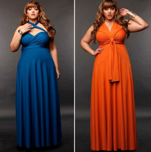 для повних жінок з великими обсягами бюста і стегон прекрасно підійдуть як  довгі сукні 57a8bb15744ec
