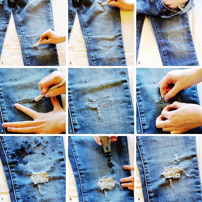 Для більш оригінального ефекту можна подряпати бритвою намічений ділянку на  джинсах. Знову ж 85dfdb38f131e